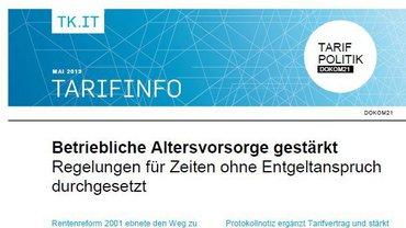 Tarifinfo Tarifvertrag Betriebliche Altersversorgung DOKOM21 - Teaserformat