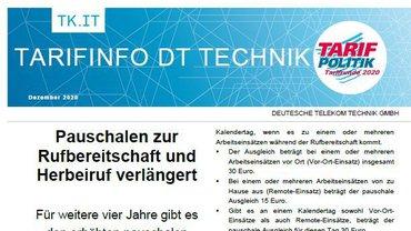 Tarifinfo Verlängerung Pauschale Rufbereitschaft und Herbeiruf DT Technik - Teaserformat