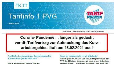 Tarifinfo 1/2021 DT PVG Tarifvertrag Aufstockung Kurzarbeitergeld läuft aus - Teaser