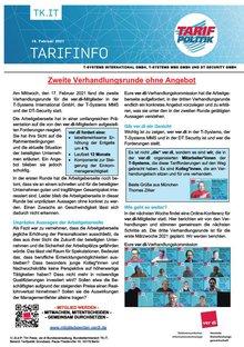 Tarifinfo 3 Tarifrunde 2021 TSI-MMS-DT Security - Zweite Verhandlungsrunde ohne Angebot