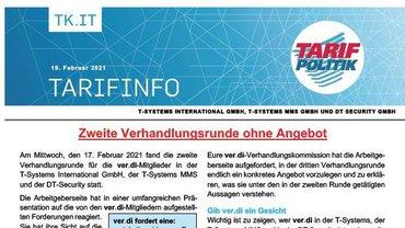 Tarifinfo 3 Tarifrunde 2021 TSI-MMS-DT Security - Zweite Verhandlungsrunde ohne Angebot - Teaser