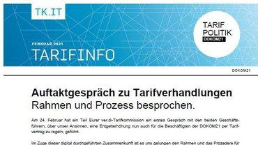 Tarifinfo DOKOM21 - Auftaktgespräch zu Tarifverhandlungen - Teaser