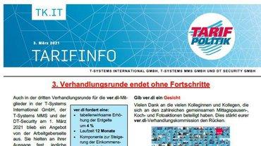 Tarifinfo 4 Tarifrunde 2021 TSI-MMS-DT Security - Dritte Verhandlungsrunde ohne Fortschritte - Teaser
