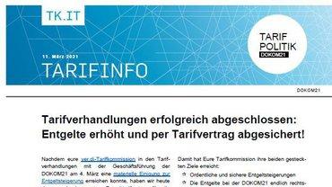 Tarifinfo DOKOM21 - Tarifverhandlungen abgeschlossen - Teaser