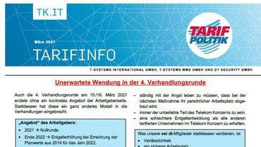 Tarifinfo 5 Tarifrunde 2021 TSI-MMS-DT Security - Unerwartete Wendung in der 4. Verhandllungsrunde - Teaser
