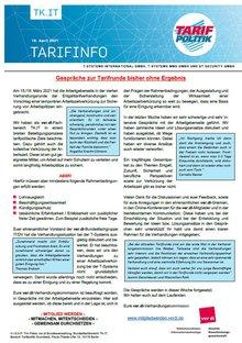 Tarifinfo 6 Tarifrunde 2021 TSI-MMS-DT Security - Gespräche zur Tarifrunde bisher ohne Ergebnis