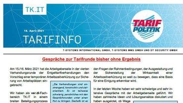 Tarifinfo 6 Tarifrunde 2021 TSI-MMS-DT Security - Gespräche zur Tarifrunde bisher ohne Ergebnis - Teaser