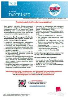 Tarifinfo 7 Tarifrunde 2021 TSI-MMS-DT Security - Arbeitgeberseite legt Sondierungsangebot vor