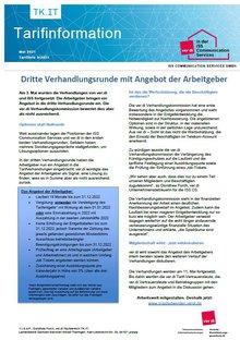 Tarifinfo ISS CS - Dritte Verhandlungsrunde mit Angebot der Arbeitgeber