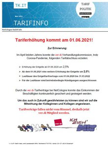 Tarifinfo NetCologne - Tariferhöhung im Jahr 2021