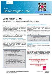 Beschäftigteninfo zum geplanten Outsourcing aus der DT IT GmbH