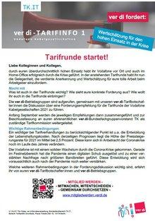 Tarifinfo 1 - Tarifrunde 2021 Vodafone Kabelgesellschaften
