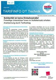 Tarifinfo DT Technik: Notfalleinsätze Hochwasser